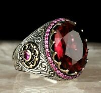 Turkish Handmade 925 Sterling Silver Solid ruby stone Lux Mens ring ALL SİZE 02