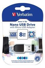 Verbatim Store n Go Nano OTG Adapter 8GB USB 2.0 Flash Stick Pen Memory Drive