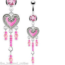 Hot Pink Beaded Vintage Epoxy Heart Dangle Belly Ring Pierced Navel 14g (w667)