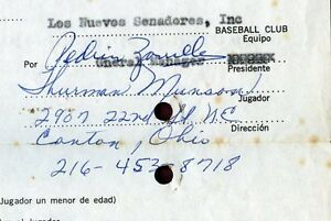 EARLY '69-70 Thurman Munson Signed Puerto Rican League Baseball Contract PSA/DNA