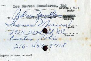 EARLIEST Thurman Munson '69 Signed Puerto Rican League Baseball Contract PSA/DNA