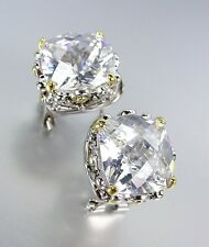Designer Style Silver Gold Balinese Filigree Clear Quartz CZ Crystal Earrings