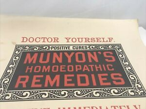 MUNYON'S HOMEOPATHIC REMEDIES Pharmacy Sign GONORRHEA SYPHILIS antique
