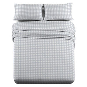 Heavyweight Printed Flannel Sheets 170GSM - Gray Check