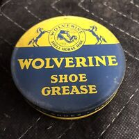Vintage Wolverine Horsehide Shoe Grease Tin Can - Rockford Mich Great Litho