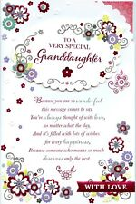 GRANDDAUGHTER BIRTHDAY EXTRA LARGE CARD WITH LOVELY VERSES