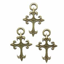 ML921L2 Fleur-de-lis Cross Antiqued Bronze 50mm Alloy Metal Pendant 10/pkg
