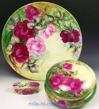 "LIMOGES FRANCE HAND PAINTED ROSES JEWELRY DRESSER BOX 13"" CHARGER & TRINKET BOX"