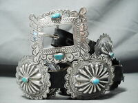 HAND TOOLED AUTHENTIC VINTAGE NAVAJO TURQUOISE STERLING SILVER CONCHO BELT