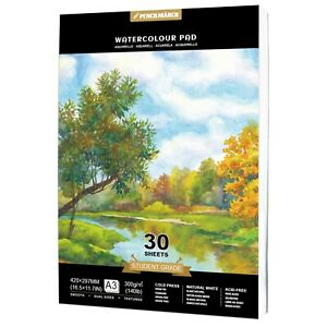 Watercolour Paper Pad A3 *30 Sheets 300GSM for Watercolour Painting PENCILMARCH