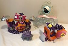 Groovy Girls Furniture/Accessories Pampered Princess Vanity/Scooter/Drums Plush