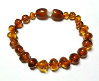 100% Genuine Baltic Amber Baby Bracelet - Anklet knotted cognac colour 14cm 5,5'