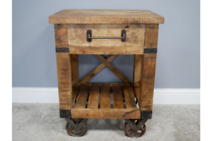 Industrial Bedside Table Rustic Wooden Bedside / Side with One Drawer 6342