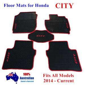 Waterproof Rubber Floor Mats Tailored For Honda City GM65 Sedan 2014 - 2018 Red