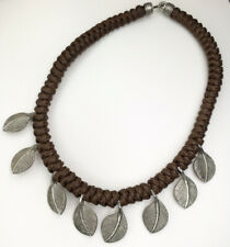 """Chunky Forest Rope Leather Style Necklace, Silver Leaves, Elvish, Nature, 17"""""""