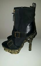 Alexander McQueen Gold Floral-Engraved Buckle Leather Boots Sz 39