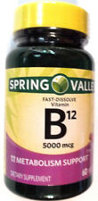 Spring Valley Fast Dissolve Tablets Pills Vitamin B12 5000mcg 60 Count