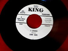 JUNE SIMS~I CRIED~MEGA RARE PROMO~KING~TELL THE WHOLE WORLD~NORTHERN SOUL 45