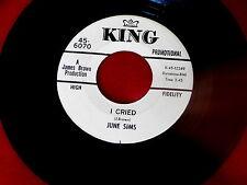 JUNE SIMS~I CRIED~MEGA RARE PROMO~KING~TELL THE WHOLE WORLD~NORTHERN SOUL 45