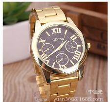 Damen Luxus Genf Gold Edelstahl Roman analoge Quarz-Uhr Armbanduhr Kit NEU~;