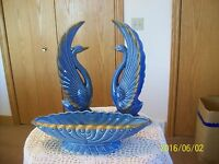 Artmark Made In Japan Vintage Sky Blue Porcelain Set Of 2 Swans & Planter