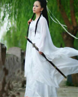 Ancient Chinese Fairy White Dress Tang Slim Hanfu Dance Vintage Cosplay Costume