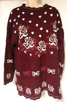 80s 90s Vintage TRIMMINGS Sweater Size 24W Hearts Roses Valentines Day Red
