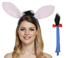 DONKEY EARS HEADBAND & TAIL SET COSTUME ADULTS KIDS NATIVITY FANCY DRESS COSTUME