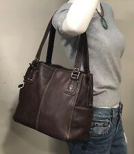 LG Vintage FOSSIL BLACKBURN Brown Pebbled Leather Rugged Satchel Purse Tote Bag