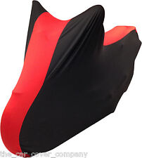 Super Soft Stretch Elasticated Indoor Motorbike Cover Red & Black Personalised-L