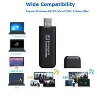 High Speed 1200Mbps 2.4G/5G Dual Band USB WiFi Adapter W/ Antenna for Desktop PC