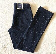 Charter Club Blue Stars Stretchy Straight-leg Pants Tummy Slimming Sz 8 NWT