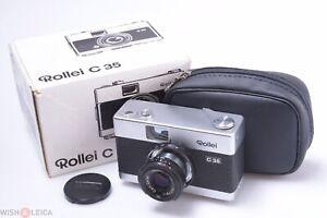 ✅ ROLLEI C35, 35 C *MINT* 35MM CAMERA ZEISS 40MM 3.5 TRIOTAR LENS CAP, CASE, BOX