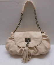 MARK Cream Purse with Snap Front, Attached Tassel, Partial Chain Strap