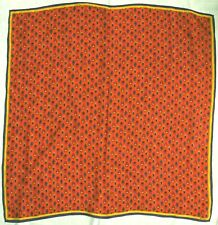 Vintage Scarf / Bandanna Silk Albert Nipon Tiny Multicolored Paisleys on Red