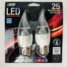 Feit Electric LED Dimmable Chandelier Bulb 25W Uses Only 3.5w Package of 2 NEW