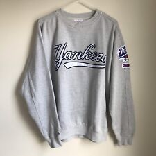 Vintage NY Yankees Sweater Pullover Majestic Mens Medium Grey World Series 98