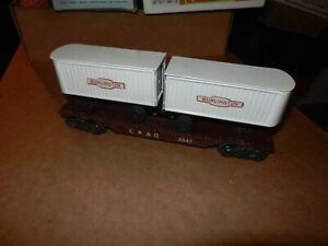MARX #5545 CB&Q Flat Car with Burlington Trailers, 8 Wheel, Original