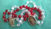 Red White Beads Divine Mercy Rosary Rosaries from Medjugorje + GIFT BAG 17.3inc
