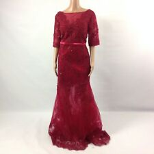 F16 Womens Long Dress Lace Red Embellished Sheer Illusion Boat Neck Short Sleeve