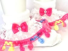 Handmade pink rainbow baby/girls frilly socks 6 sizes