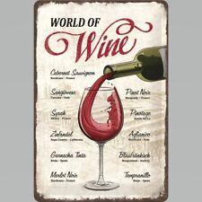 World of Red Wine, Different Varieties Types 3D Medium Metal/Steel Wall Sign