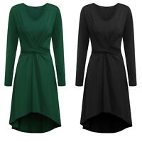 Women's V-Neck Long Sleeve Asymmetry High Low Belt Casual Cocktail Party Dress