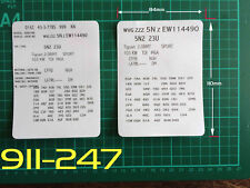 VW Style 1 VIN Data Bonnet Hood Maintenance Book Labels Stickers