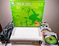 Microsoft Xbox 360 Arcade Console Bundle w/ Box 120GB HDD Extra Accessories