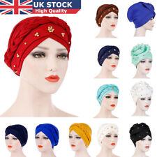 UK Women Lady Muslim Dichroic Braid Head Turban Wrap Cover Cancer Chemo Cap Hat