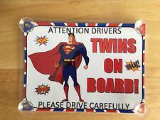 I SUPEREROI SUPERMAN Gemelli A Bordo Auto Firmare laminato
