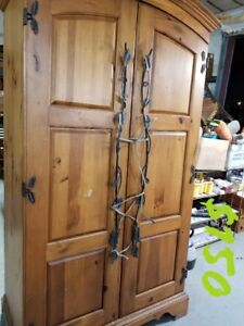 Armoire Entertainment Center with Metal Vine Handles