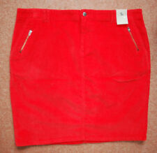 NEW 18-20 Orangy-red Cord Corduroy Mini Pencil Skirt double Pockets Zip Detail