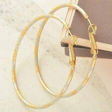 Round Hoop Earings Statement earing Gold Filled Womens vintage jewelry Large